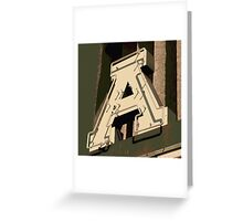 The Letter A in Neon Light Greeting Card