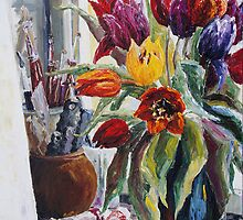 Studio Corner With Tulips by Barbara Pommerenke