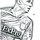 Gabriel Agbonlahor Aston Villa Pencil & Ink Sketch by chrisjh2210