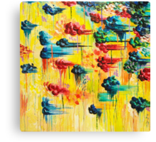 HERE COMES THE RAIN - Abstract Acrylic Painting Rain Storm Clouds Colorful Rainbow Modern Impasto Canvas Print