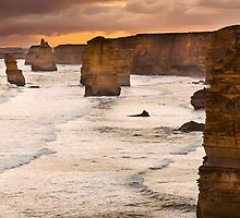 Backlit 12 Apostles golden sunset by hangingpixels