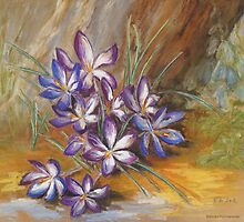 Crocuses Under My Old Apple Tree by Barbara Pommerenke