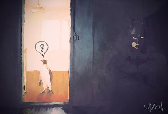 Batman and penguin by Tepa Lahtinen