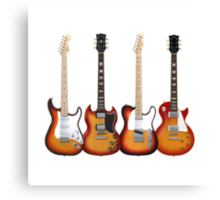 Four Sunburst Guitars Canvas Print