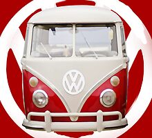Red & White VW Bus by TinaGraphics