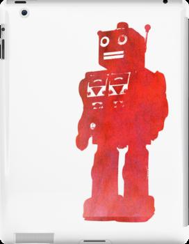 bright red robot by puppaluppa