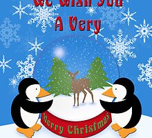 Merry Christmas Whimsical Penguins by Cherie Balowski