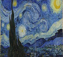 Van Gogh Starry Night, Vintage Post Impressionism  by nadil