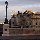 Paris along the Seine sunset by graceloves