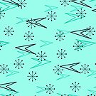 Turquoise Atomic Arrows, Fifties, iPad Case by Cherie Balowski