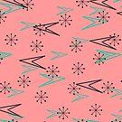 Vintage Pink, Atomic Retro Arrows, iPad Case by Cherie Balowski
