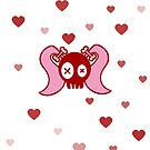 Skull & Pigtails with Love Hearts (white) by VMDolphin