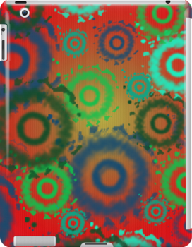 Red, Aqua, Gold Tie Dyed Circles Patterns, iPad Case by Cherie Balowski