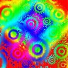 Rainbow Gradient Tie Dye Circles iPad Case by Cherie Balowski