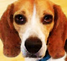 Beagle Dog Art - Sad Eyes by Sharon Cummings