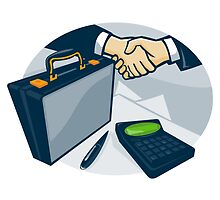 Business Handshake Deal Briefcase Retro  by retrovectors
