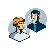 Construction Worker Telemarketer Retro by retrovectors