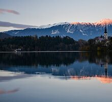 Sunset over Lake Bled by Ian Middleton