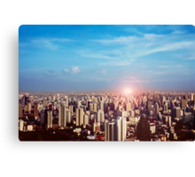 Sunset in the city Canvas Print