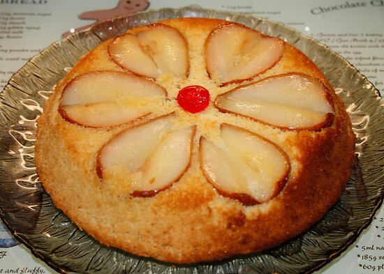 Pear & Almond Upside Down Cake by AnnDixon