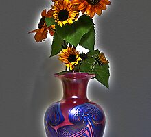 Sunflower on Art glass base by hydratedco