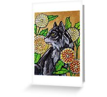Cat and Chrysanthemums Greeting Card