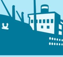 Passenger Ship Cargo Boat Retro  Sticker