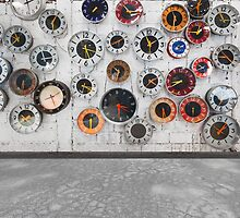 Retro clocks on the wall by naphotos