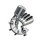 Microphone with Piano Keys by screamingtiki