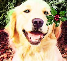 Golden Retriever - Merry Christmas by Sharon Cummings