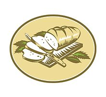 Bread Loaf With Knife and Board Woodcut  by retrovectors