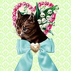 Retro Vintage Floral Cat with Bow by hellohappy