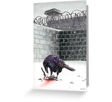 Crow, Bloody Snow Greeting Card