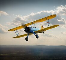 Boeing Stearman in flight by Gary Eason + Flight Artworks