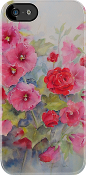 "Iphone case ""Hollyhocks"" by Beatrice Cloake"