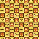 Pumpkin Bat Checkered Pattern by SaradaBoru