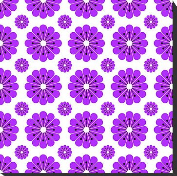 "Retro 1970s Geometric Print ""Flowers 3""  by Fotopia"