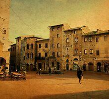 Piazza Cisterna-San Gimignano, Italy by Deborah Downes