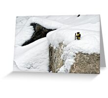 Hiker on snowy cliff Greeting Card