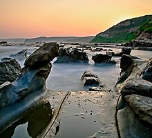 Wet Rocks, Bush fire sunset by bazcelt