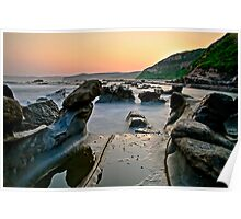 Wet Rocks, Bush fire sunset Poster