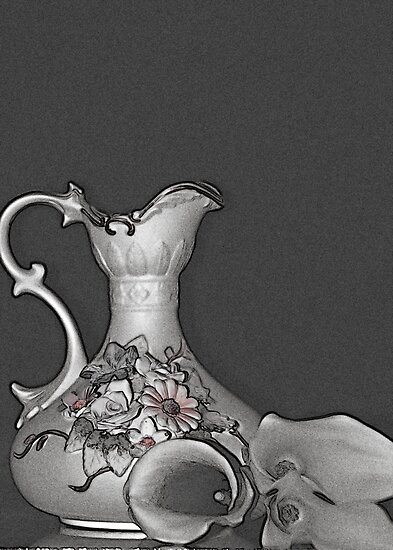 Grandmother's Vase and Cala Lilies by Sherry Hallemeier