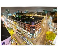 Bright lights of Manchester, tilt and shift. Poster