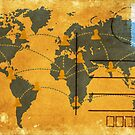 world map on old postcard by naphotos