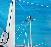 Sailboat sail Amel 3 Oil on Canvas Painting by SlavicaB