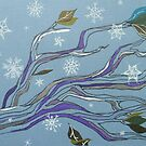 tumbling flakes on wintery trees by Hannah Clair Phillips