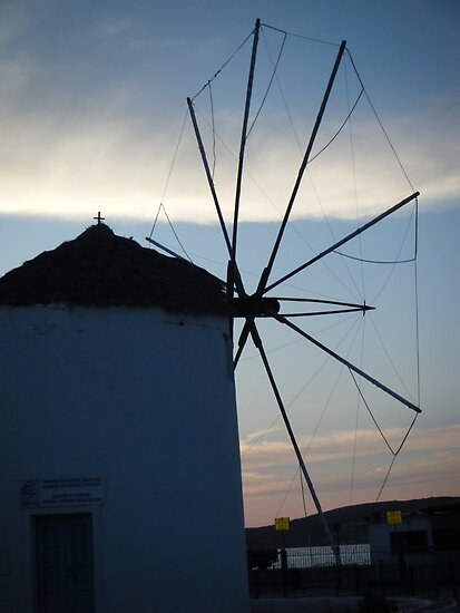 Santorini ocean: Greek Islands windmill by SlavicaB