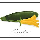 Zucchini and Flower Digital Oil Still Life  by Sarah Countiss