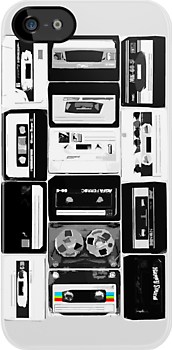 Retro Audio Cassette Tapes - Black & White by HighDesign