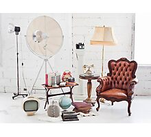 retro furniture and decoration in white room Photographic Print